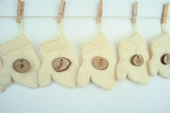 Advent Calendar Handmade Knitting : Handmade advent calendar hand knitted mittens by