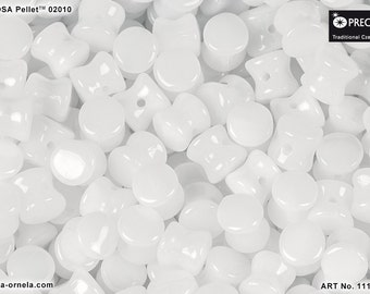 50pcs Pellet Beads 4x6mm Pressed Czech Glass, Alabaster White (PL011)