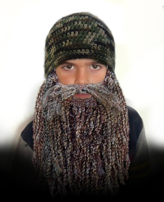 Duck Dynasty Hat and Beard CROCHET PATTERN - Easy - 7 sizes - Newborn