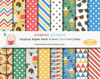 SALE Summer Scrapbook, Summer Digital Paper, Birthday Scrapbook, Icecream Scrapbook, Icecream Digital Paper, Sun Digital Paper, Comm. Use