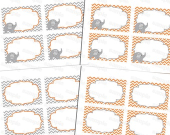Printable Baby Shower Food Labels, Place Card, Blank Place Cards, Placecards, Label Chevron (orange)