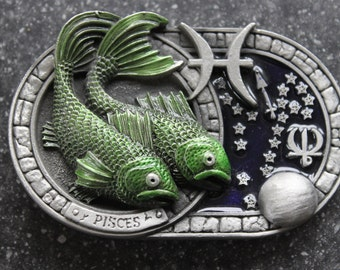 ZODIAC....Antique Pewter, enamelled Pisces Horoscope Buckle