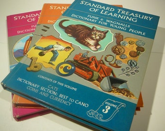 Standard Treasury of Learning, 1966, Funk and Wagnalls Dictionary for Young people, set of 3