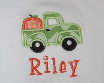 Truck with Pumpkin Appliqued Shirt or Onesie
