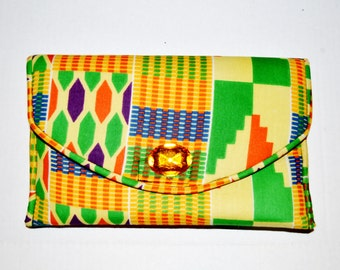 Women African Kente Print Clutch - Hostess Gift- African Ankara Fabric Clutch - Bridesmaid Gift- By Zabba Designs