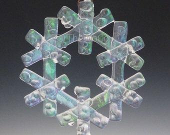 CRYSTAL Crystalline Clear Iridized Snowflake, Fused Glass Ornament Suncatcher