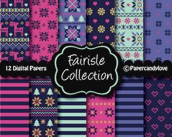 Printable digital fairisle pattern paper pack