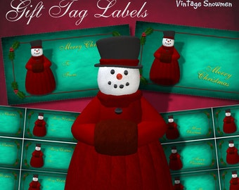 Vintage Snowmen Lady Frost Gift Tag Labels - Digital Download