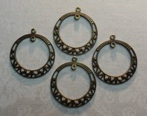 "Vintage gold or silver plate brass solid filigree hoops,1"" diameter,4pcs-ERG27"