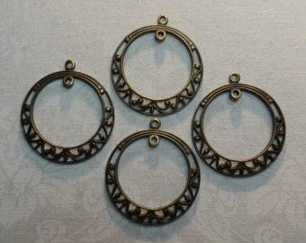 "Vintage gold or silver plate brass solid filigree hoops,1"" diameter,4pcs-ERG27"