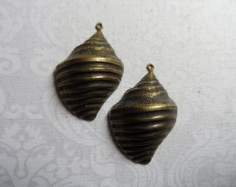 "3D shell vintage gold or silver plate stamping,1&1/8th""x7/8th"",2pcs-KC87"