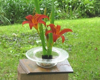 Ikebana Vase, Clear round art glass Ikebana vase with slate base, Flower Arranging, Glass Vase, Artificial Flowers, Fused Glass Vase, V205