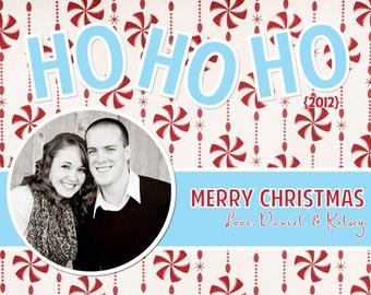 Christmas Card, Photo, Digital, Turquoise, Red, Ho Ho Ho, Peppermint - Digital File