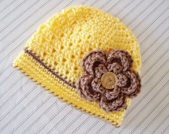 Baby Butterscotch, Taupe Spring Flower Hat - 0 to 3 Months, 3 to 6 Months, 6 to 12 Months