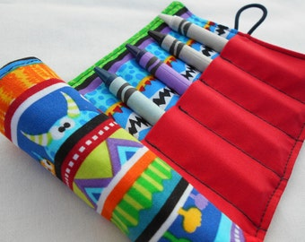 Monster Stripes Crayon Roll - Monsters, Bright Colors, Striped, Kids Crayon Roll, 8 Crayons