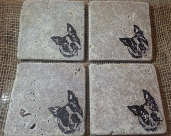 Natural Tumbled Marble Stone Boston Terrier Coasters