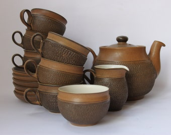 Denby English Pottery teaset Cotswold teapot cups saucers sugar cream milk brown textured