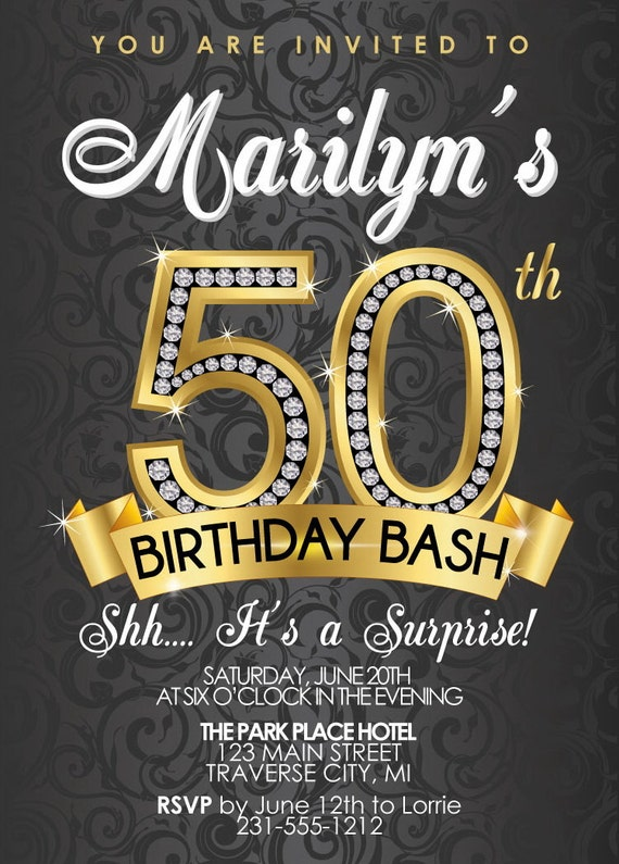 50th birthday invitation party adult diamond invitations templates gold surprise green