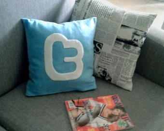 Twitter icon decorative pillow / cushion case