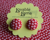 Fabric Button Earrings - Red With White Flowers