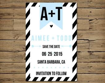 Black Retro Save the Date Announcement - Custom Engagement Card - Printable