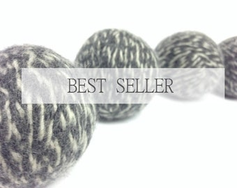 Felted Wool Dryer Balls // Set of 4 charcoal grey and white 100 percent Wool Dryer Balls