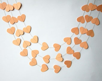 Wedding garland, Wedding heart garland - Peach heart garland, Wedding decoration, Paper garland, Bridal shower decor, KCO-3039
