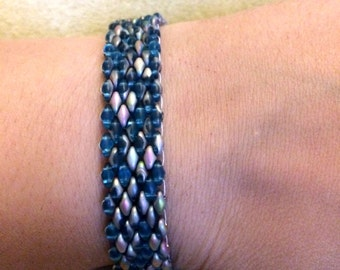 "Teal and Silver ""Snakeskin"" Bracelet with SuperDuos, Seed Beads, and Tear Drops."