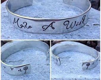 Make A Wish Hand Stamped Cuff, dandelions, whimsical, personliased