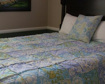 Full Size Rag Quilt, Handmade, Designer, All Natural, Blue, Taupe, Lime, Dena Designs Taza in Blue Collection