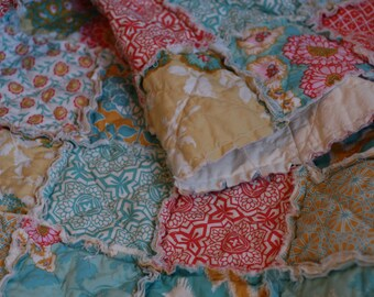 Crib Rag Quilt, Botanique in Sunset, Joel Dewberry, ALL NATURAL, handmade bedding, Coral, teal, apricot and aqua, little girl, nursery decor