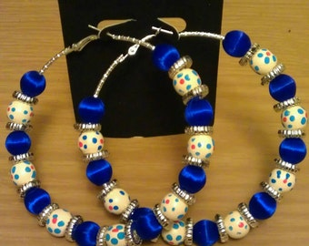 Love and Hip Hop and Basketball wives inspired blue and polka dot hoops