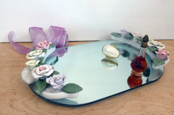 Vintage Oval Vanity Mirror Tray With Porcelain Flowers Retro