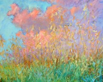 Original painting oil sunset, Impressionist, wild field, sunset clouds, Sessa