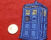 4 inch Police box iron on patch inspired by Dr Who