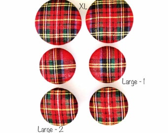 Holiday Plaid Fabric Covered Button Earring