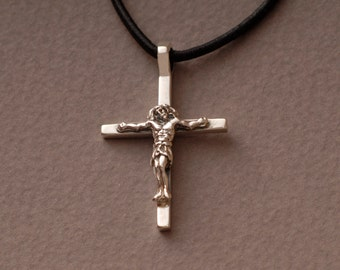 Jesus Crucifix Cross Necklace, Mens Womens Sterling Silver Cross Pendant, Unique Religious Jewelry, Catholic Jewellery ST663
