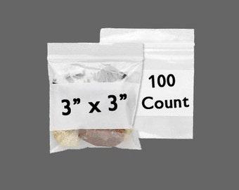 "CLEARANCE - Zip Bag - Storage Bag - White Block Bag - Plastic Bag - Zipper Bag - 3"" x 3"" - Zip Close Bag - Resealable Bag - 100 COUNT"