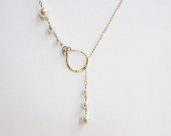 Pearl Lariat Necklace Gold Pearl Necklace Lariat Necklace Pearl Necklace Pearl Drop Necklace Pearl Jewelry Hammered Gold Necklace Bridal