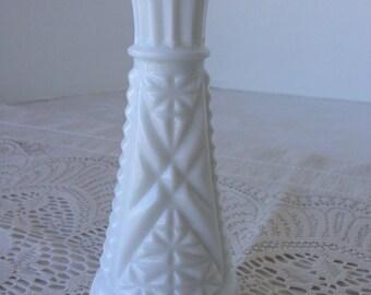"Milk glass vase, 6"""