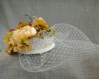 Fall Colors Floral Fascinator with Cage Veil