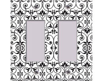 Black and White Intricate Double Rocker/GFI Cover