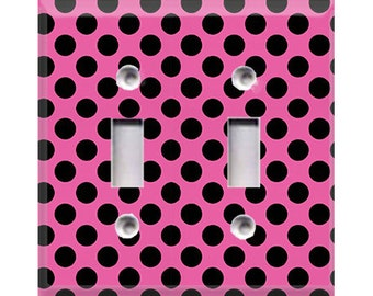 Black Polka-Dots on Pink Double Light Switch Cover