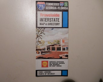 1969 Shell Oil Interstate 75 and 95 Tennessee Georgia Florida Map and Directory