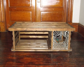 gray maine wooden lobster trap coffee table