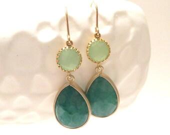 Jade Green Earrings Gold Earrings Mint Earrings Forest Green Wedding Green Bridesmaid Earrings Mint Bridesmaid Jewelry Green Wedding Winter