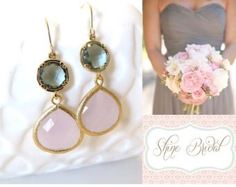 Blush Pink and Grey Bridesmaid Earrings Pink Wedding Pink Earrings Gray Grey Earrings Gold Earrings Gray Blush Bridal Jewelry Grey Wedding