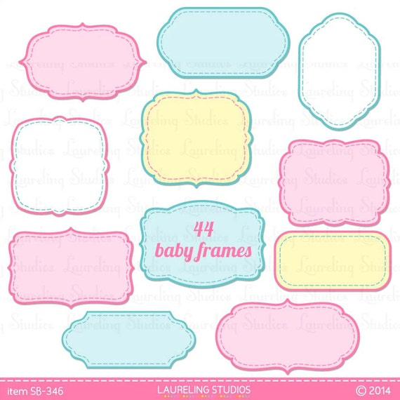 Items similar to digital baby clipart frame & label set, new baby ...