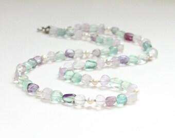 june birthstone jewelry / amethyst necklace pearl necklace / gemstone jewelry / gemini birthday gift / rainbow fluorite freshwater