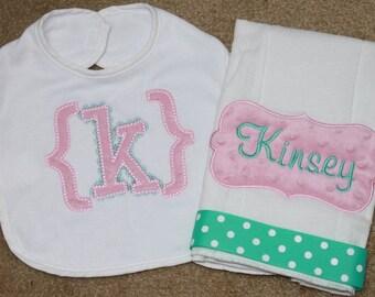 Baby Girl Monogrammed Burp Cloth and Bib Gift Set - Baby Girl Monogrammed Bib - Personalized Burp cloth - Personalized Baby Gift